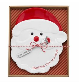 Mud Pie Santa Cheese Plate Set