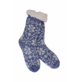 Heather Blend Snowflakes Knit Thermal Slipper Socks