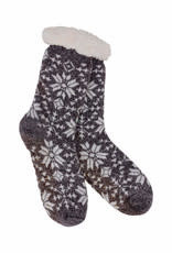 Heather Blend Snowflakes Knit Thermal Slipper Socks