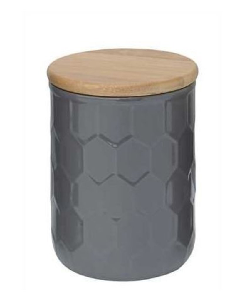 """6"""" Grey Ceramic Canister w/ Wood Lid"""