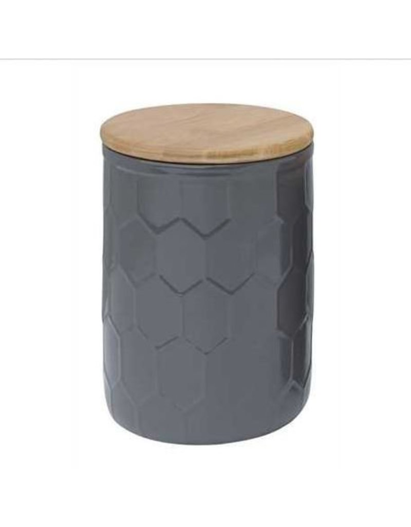 """7"""" Grey Ceramic Canister w/ Wood Lid"""
