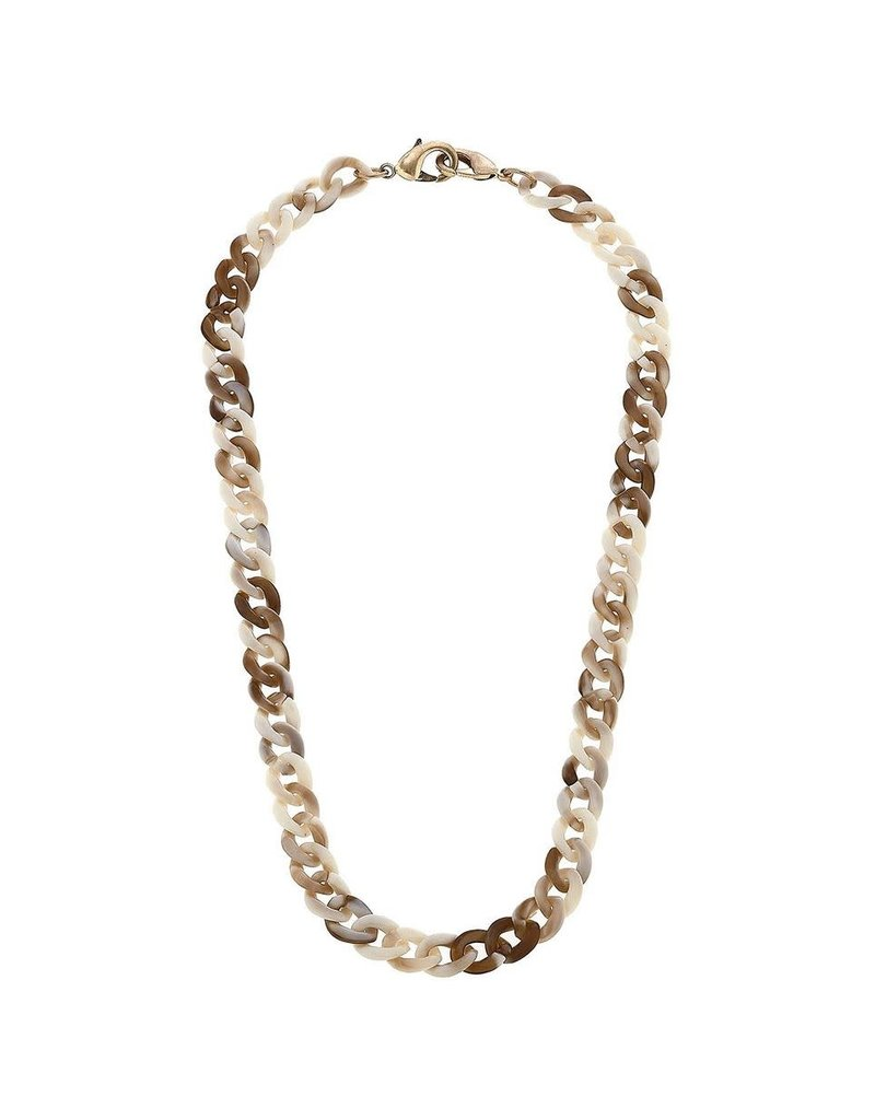 Legacy Resin Link Chain Mask Necklace, Brown