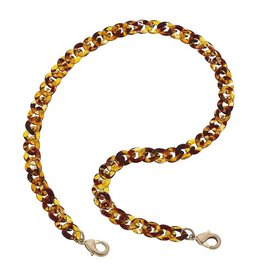 Legacy Resin Link Chain Mask Necklace, Tortoise