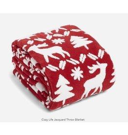Vera Bradley Cozy Life Jaquard Throw Blanket, Reindeer Intarsia Red