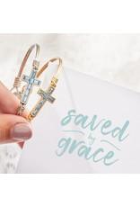 Luca & Danni Baguette Cross Bracelet in Aquamarine