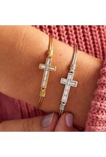 Luca & Danni Baguette Cross Bracelet in Crystal