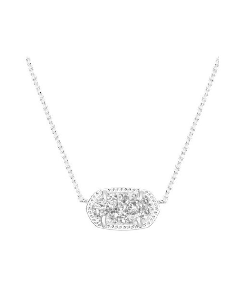 Kendra Scott Elisa Necklace Rhodium Platinum Drusy
