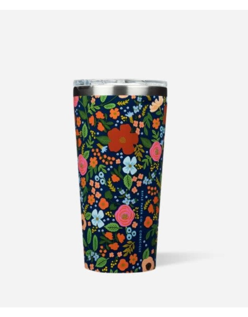 Corkcicle Rifle Paper Tumbler 16oz Gloss Navy - Wild Rose