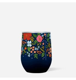 Corkcicle Rifle Paper Stemless 12oz Gloss Navy - Wild Rose