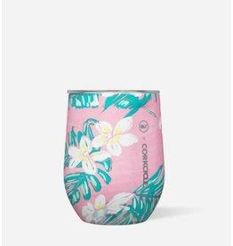 Corkcicle Stemless 12oz Vineyard Vines - Pink Tropical Flowers