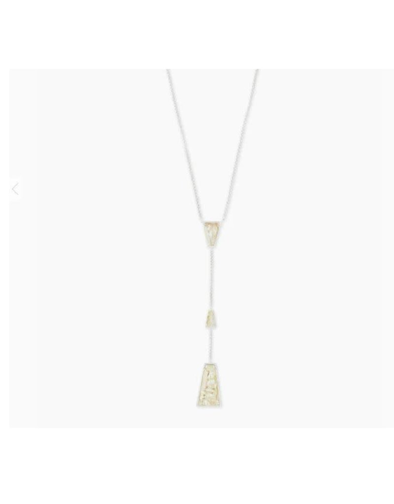Kendra Scott Collins Y Necklace Bright Silver White Abalone