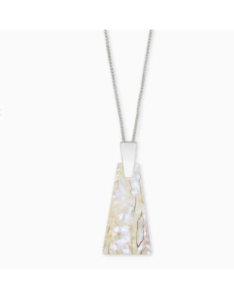 Kendra Scott Collins Long Pendant Necklace Bright Silver Whie Abalone