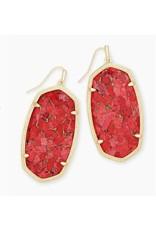 Kendra Scott Danielle Earring Gold Bronze Veined Red Magnesite
