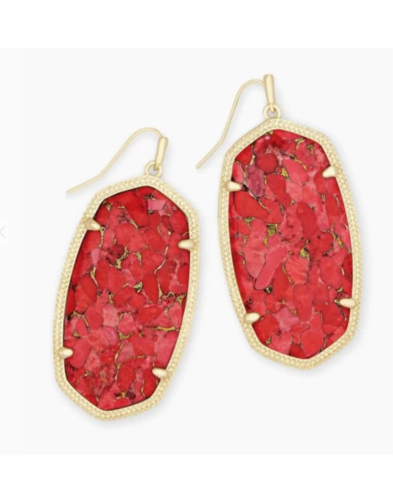 Kendra Scott Danielle Earring Gold Bronze Veined Red Magnesite