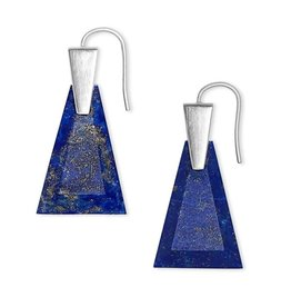 Kendra Scott Collins Small Drop Earring Bright Silver Blue Lapis