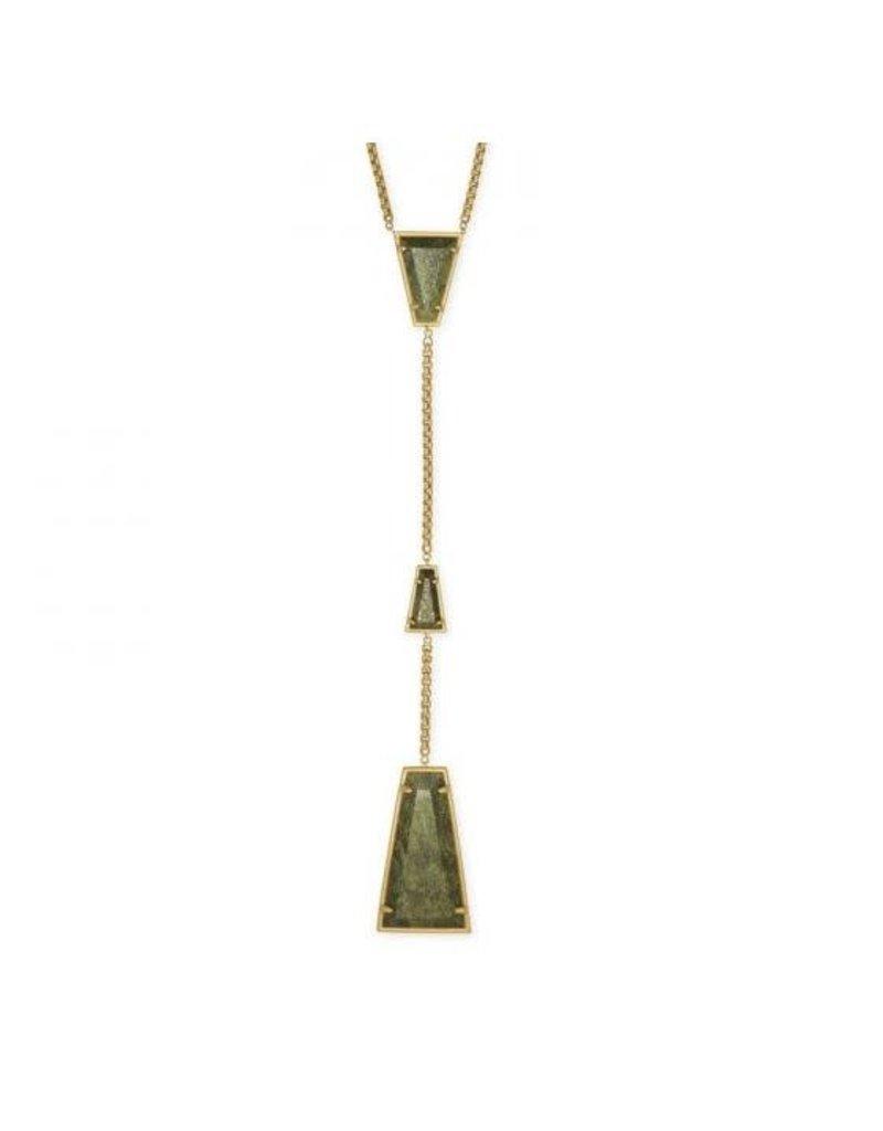 Kendra Scott Collins Y Necklace Vintage Gold Olive Epidote