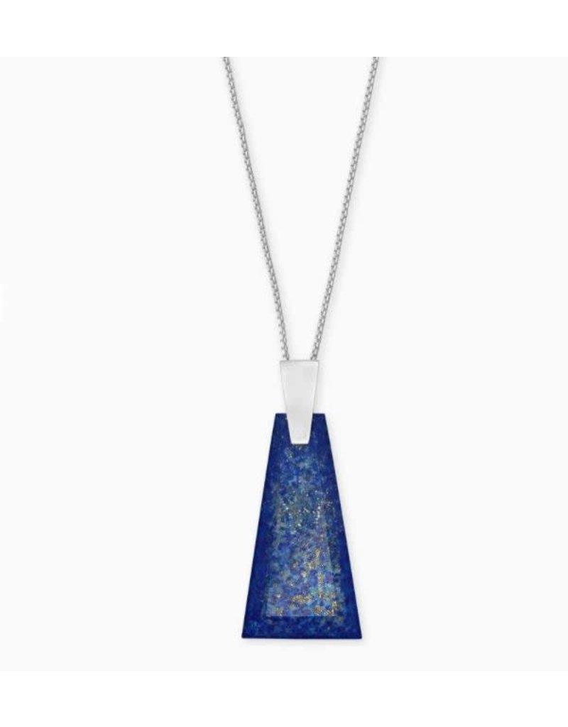 Kendra Scott Collins Long Pendant Necklace Bright Silver Blue Lapis