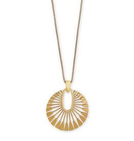 Kendra Scott Deanne Long Pendant Necklace Vintage Gold Metal