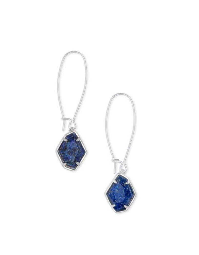 Kendra Scott Ellington Drop Earring Bright Silver Blue Lapis