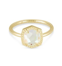 Kendra Scott Davie Band Ring Gold Dichroic Glass
