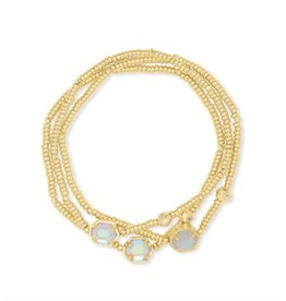 Kendra Scott Tomon Bracelet Set Gold Dichroic Glass