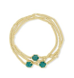 Kendra Scott Tomon Bracelet Set Gold Dark Teal Amazonite