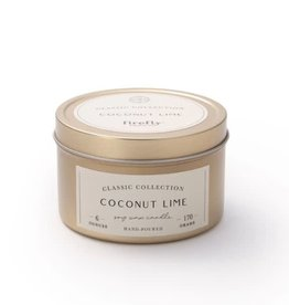 Firefly Candle Co Coconut Lime 6oz Gold Travel Tin Candle
