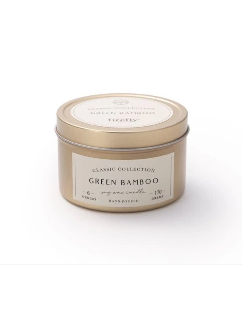 Firefly Candle Co Green Bamboo 6oz Gold Travel Tin Candle
