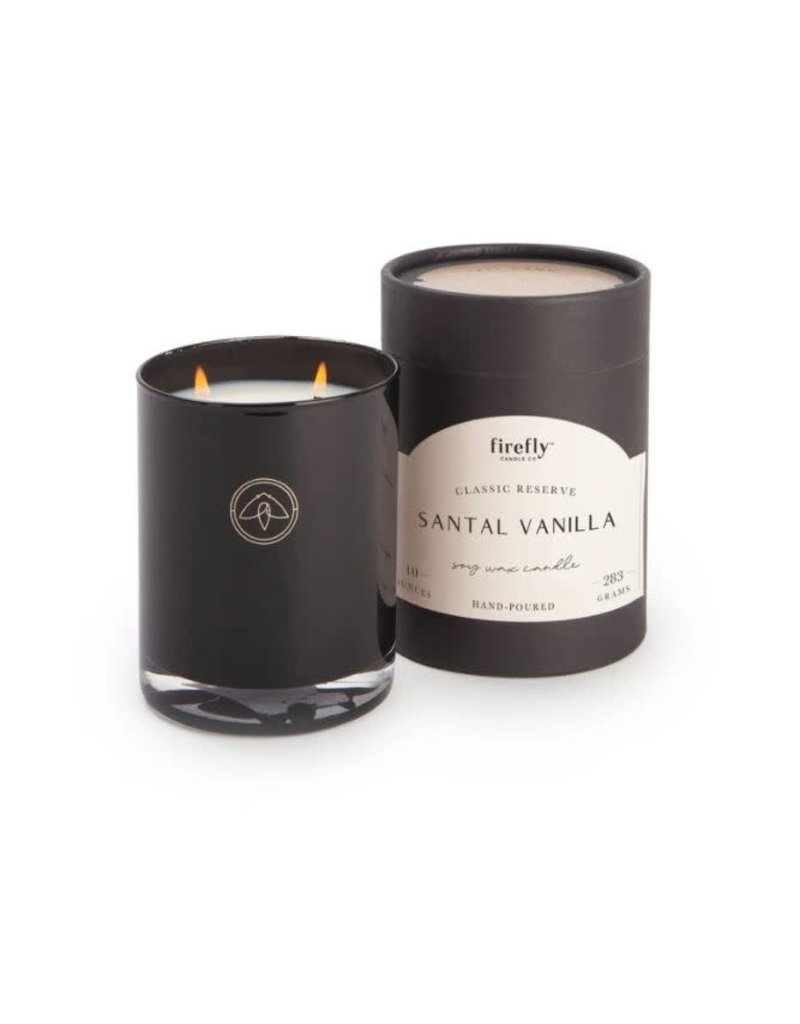Firefly Candle Co Vanilla Santal 10oz Black Glass Candle