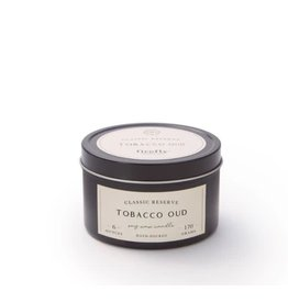 Firefly Candle Co Tobacco & Oud 6oz Black Travel Tin Candle