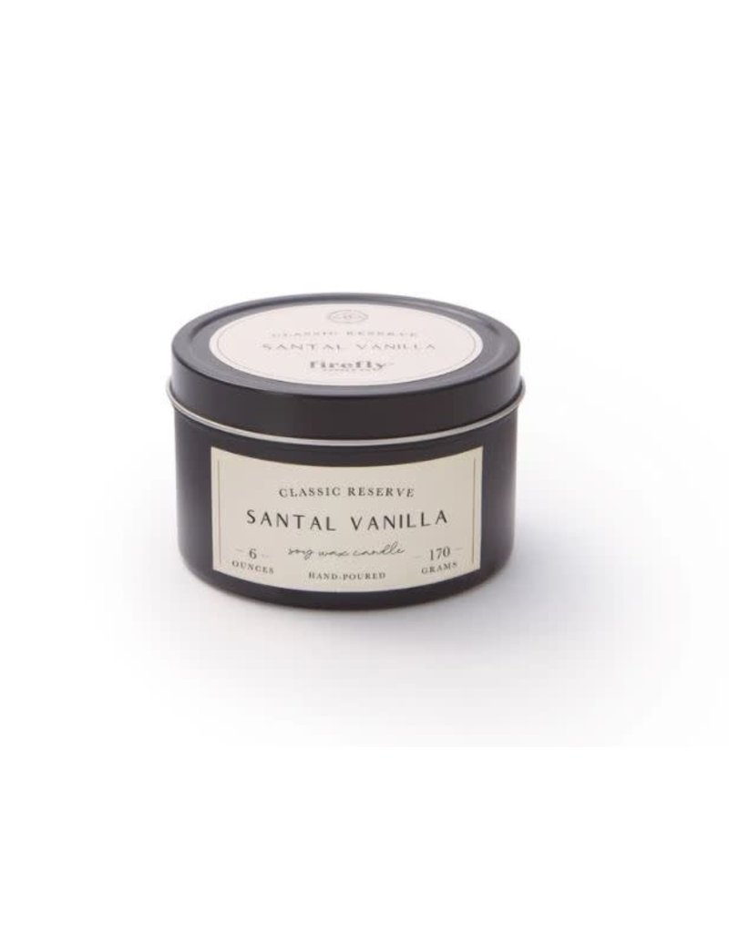 Firefly Candle Co Vanilla Santal 6oz Black Travel Tin Candle