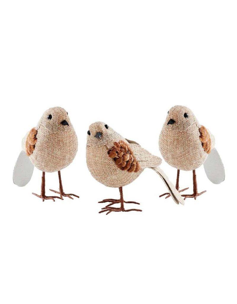 "K & K Interiors, Inc. 5.5"" Assorted Burlap Birds"