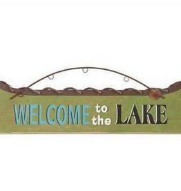 "Creative Co-Op ""Welcome To The Lake"" Boat Shaped Metal Wall Decor"