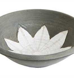 Creative Co-Op Terra Cotta Bowl w/ Flower Design