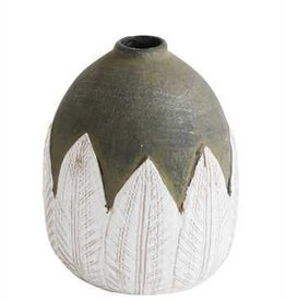 "Creative Co-Op 6"" Terra Cotta Hand Painted Vase"