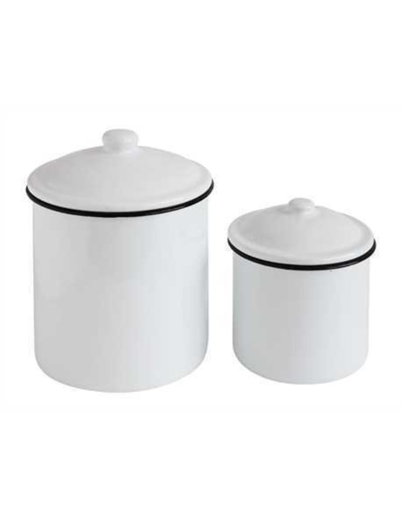 White Enameled Canister