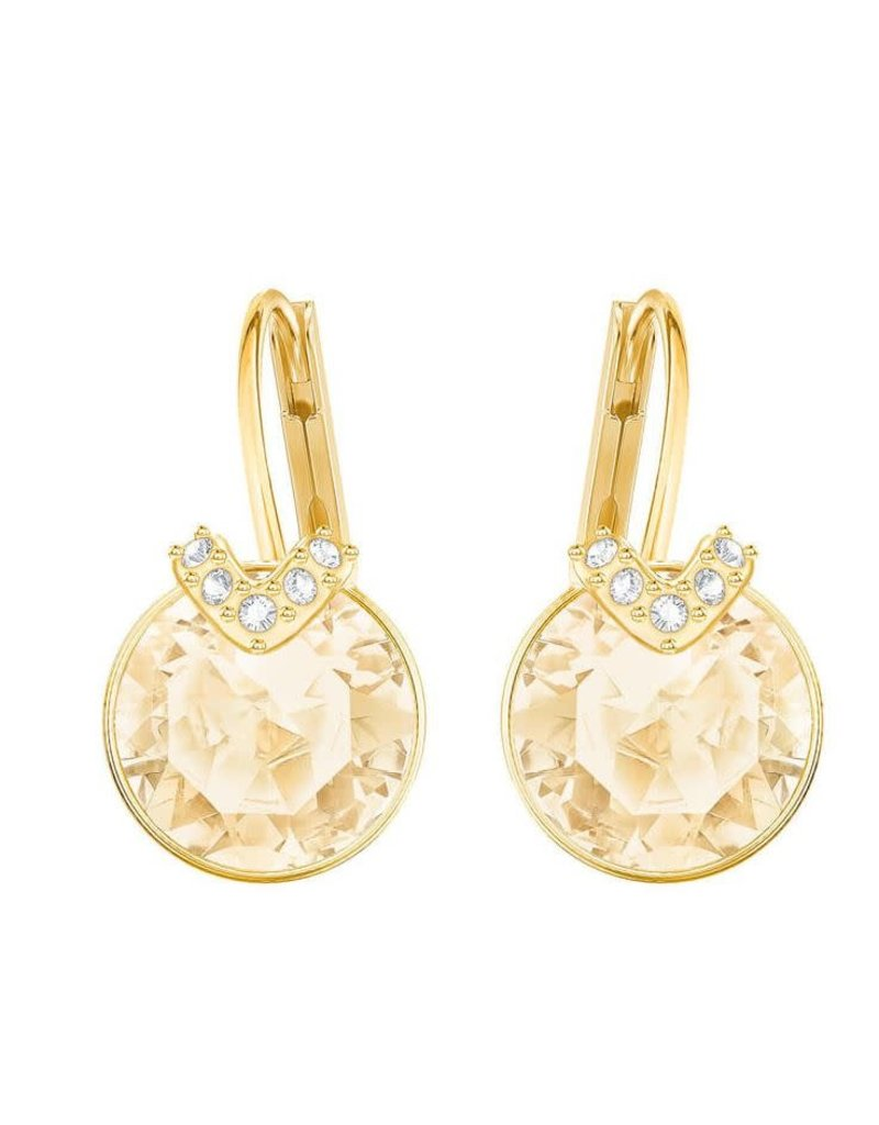 Bella V Pierced Earrings Gold Plated, Gold Crystal