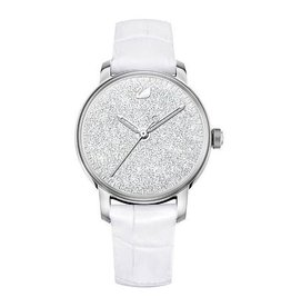 Crystalline Hours Watch, White/Silver