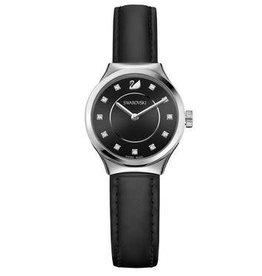 Dreamy Watch, Leather Strap, Black, Silver Tone