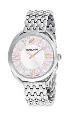 Crystalline Glam Watch, Metal Bracelet, White, Stainless Steel