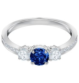 Attract Trilogy Round Ring, Blue, Rhodium, Size 58