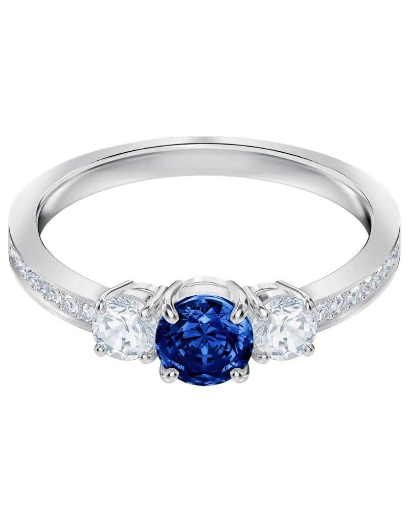 Attract Trilogy Round Ring, Blue, Rhodium, Size 60