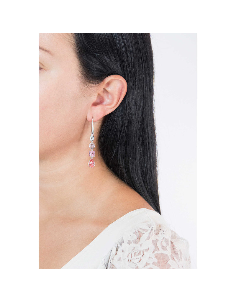 Lisanne Pierced Earrings, Pink Crystals, Rhodium