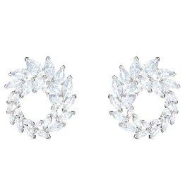 Louison Hoop Earrings, White, Rhodium