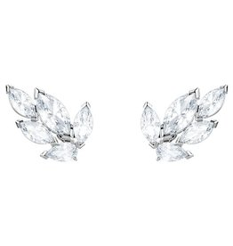Louison Stud Earrings, White, Rhodium