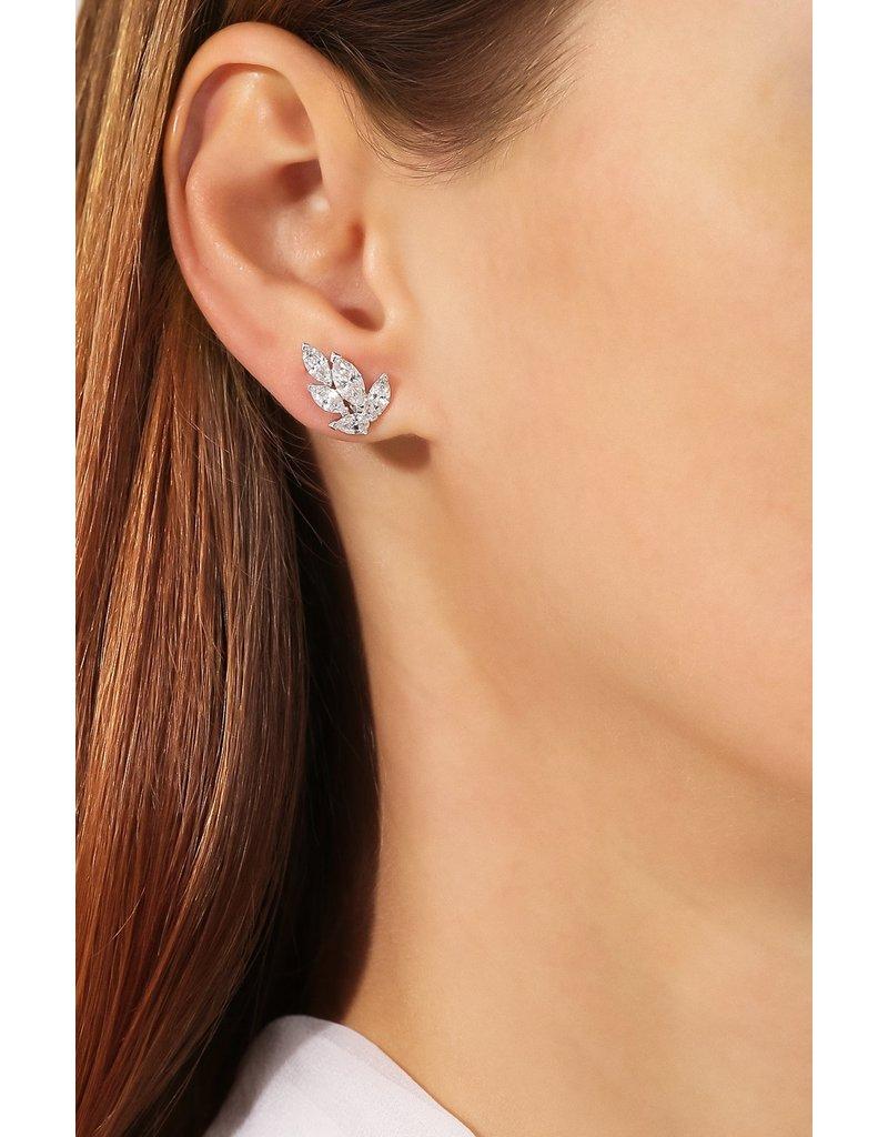 Louison Stud Earrings, White, Rhodium