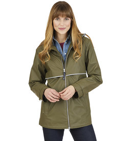 Charles River Apparel Rain Jacket New Englander Olive Plaid