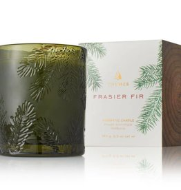 The Thymes Frasier Fir Molded Green Glass Candle
