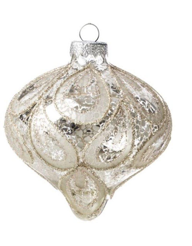 Silver Glass Onion Ornament