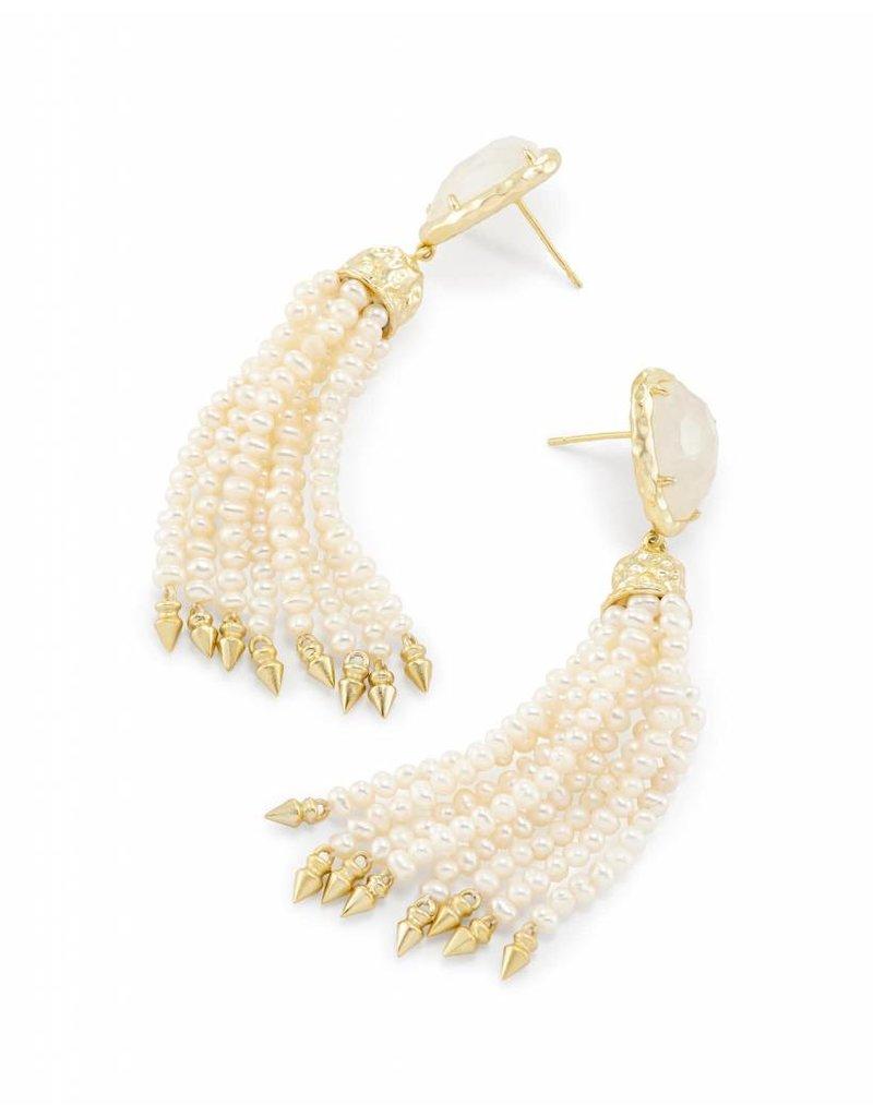 Kendra Scott Blossom Earring Gold Crystal Ivory Illusion